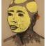 Tête africaine au maquillage tribal jaune, gouache et pastel, par Jean Poulain, 1945