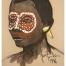 Tête africaine à la gouache et au pastel par Jean Poulain, 1946
