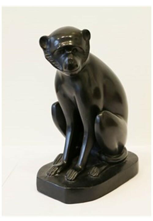 Sculpture en bronze à patine noire représentant un singe assis, par David Mesly