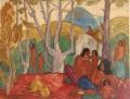 """Gouache """"Après-midi chez les Moïs"""" par André Maire, 1949"""