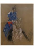 pastel et fusain de deux élégantes par Louis Icart, vers 1930