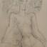 Nu d'une femme à mi-corps de face à la plume et l'encre, par Marcel Gromaire, 1956