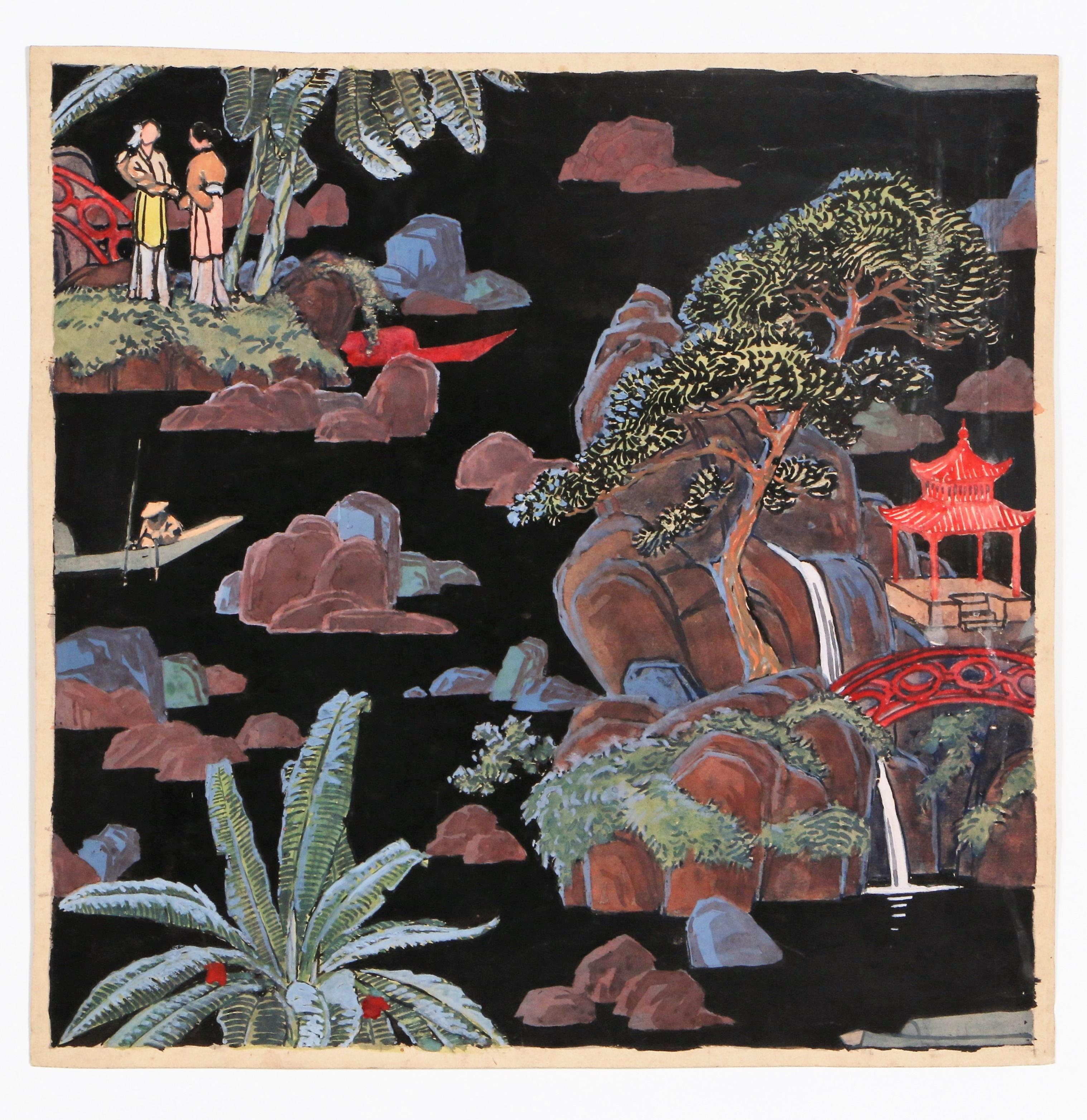 projet de papier peint paysage chinois avant garde gallery. Black Bedroom Furniture Sets. Home Design Ideas