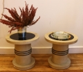 Paire de bouts de canapé en bois parcheminé et anneaux de laiton, par Jacques Adnet, vers 1930